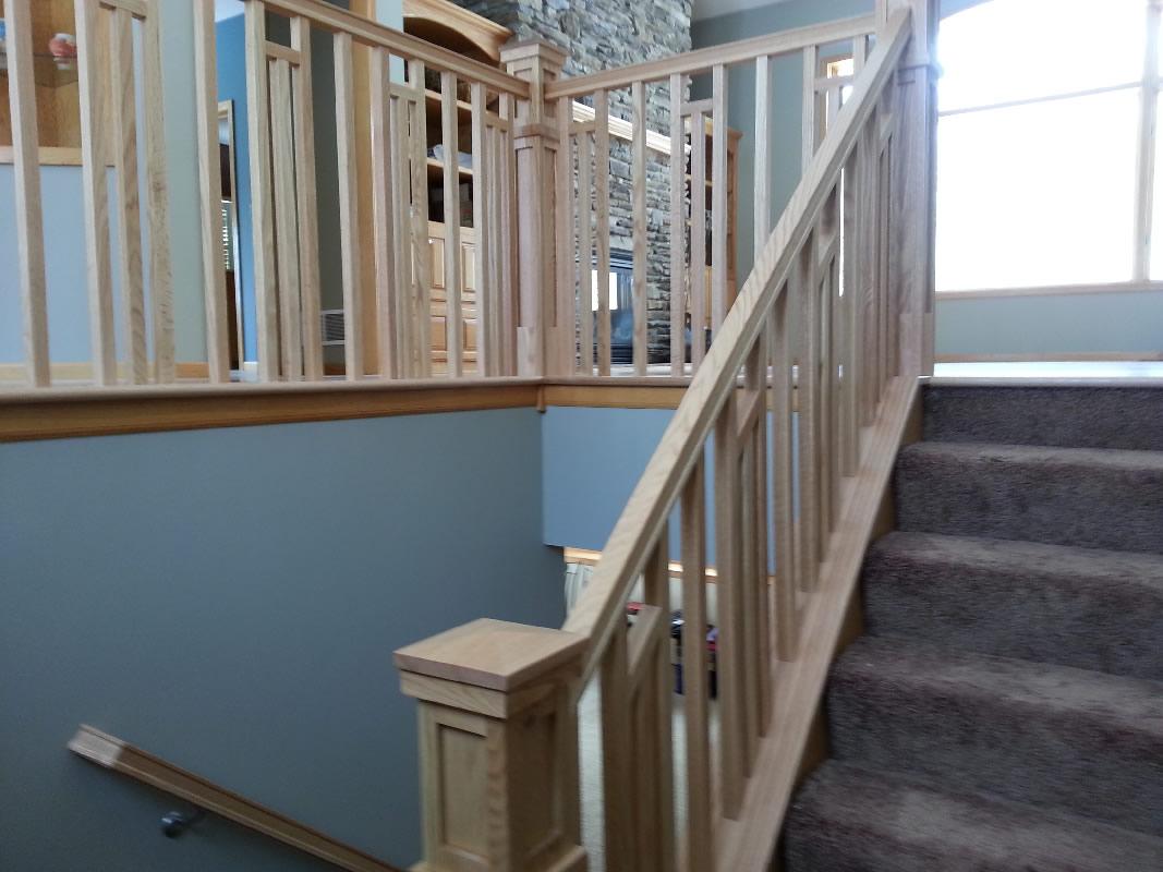 Frank Lloyd Wright Style Stairway · MN Custom Designed Stairway And Railing
