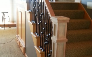 Cherry And Iron Custom Stair Railing