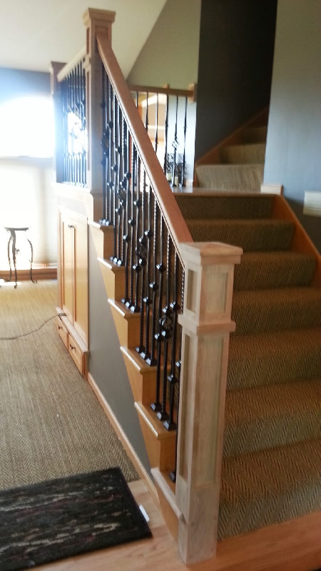 Cherry And Iron Custom Stair Railing