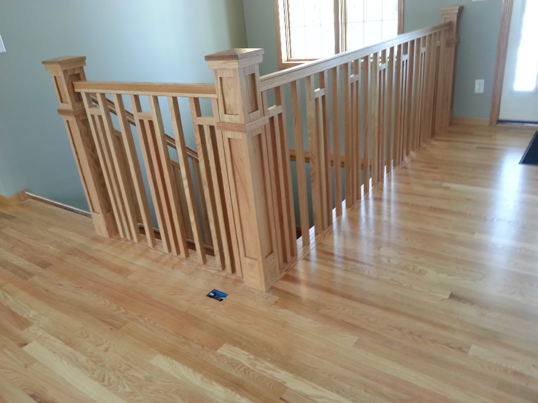 Frank lloyd wright style railing mystairways for Custom hardwood flooring