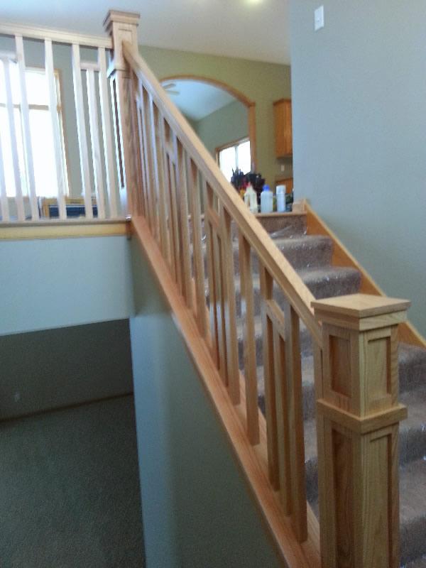 Good Custom Stairs In Oak · Custom Sturdy Railing Installation · Frank Lloyd  Wright Style Stairway
