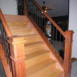 Natural Cherry Railing With Iron Spindles