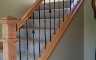 Oak And Iron Spindle Stairway Railing