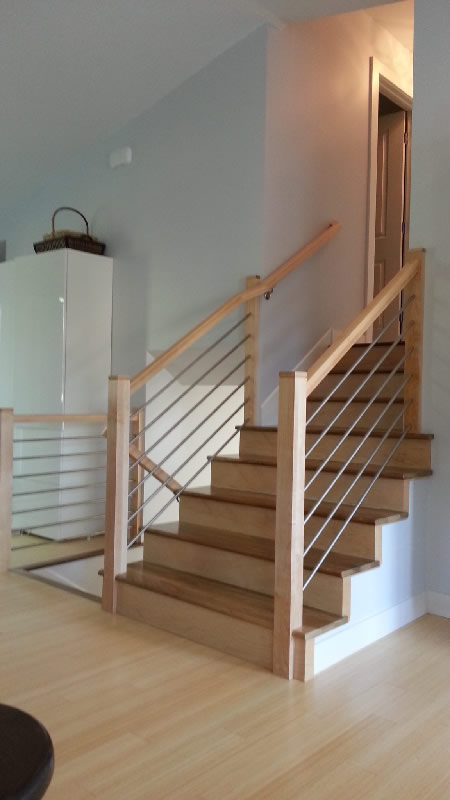 Maple Railing With Stainless Tubing