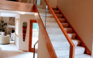 Custom Red Oak Railings With Half Inch Tempered Glass 001