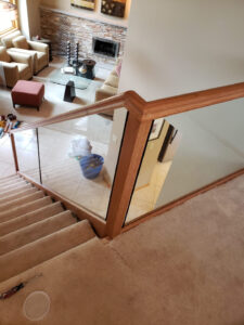 Custom Red Oak Railings With Half Inch Tempered Glass 002