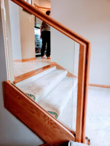 Custom Red Oak Railings With Half Inch Tempered Glass 003