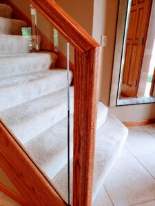 Custom Red Oak Railings With Half Inch Tempered Glass 004